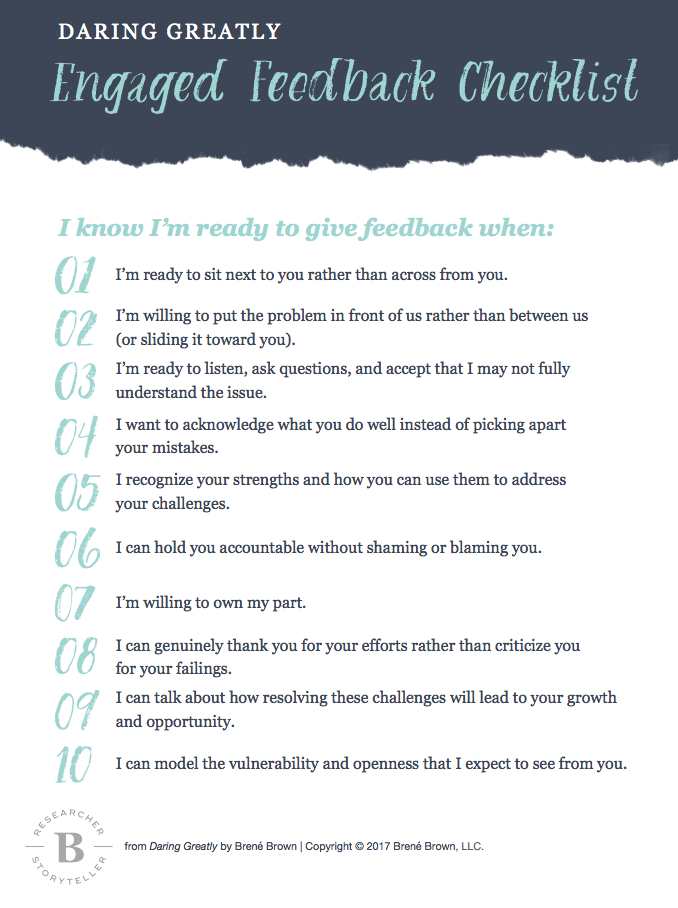Engaged Feedback Checklist