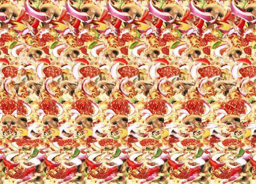 Magic Eye Image of a Pizza Slice